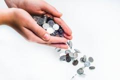 Monety w ręce Obraz Stock