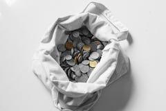 Monety w torbie obraz royalty free