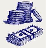 Monety z dolarowym rachunkiem Zdjęcie Royalty Free