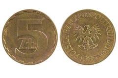 Monety 5 złoty Polska Obrazy Stock