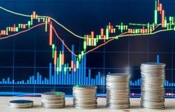monety zestrzelają wykresu rynku ołówek snd czerwony zapas podnosi Zdjęcia Stock