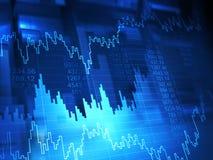 monety zestrzelają wykresu rynku ołówek snd czerwony zapas podnosi Ilustracji