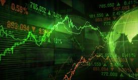 monety zestrzelają wykresu rynku ołówek snd czerwony zapas podnosi Zdjęcie Stock