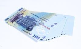 Money 01. Brand new 100 Ron, romanian money, on a white desktop Stock Photo