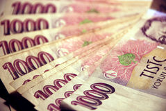 Money #1. A batch of CZK (Czech Koruna), 1000 CZK bills Royalty Free Stock Photo