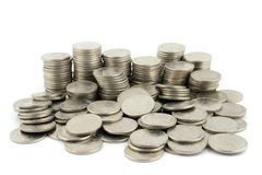 Money - 10 Pence Pieces. 10 Pence coins on a white background Royalty Free Stock Photo