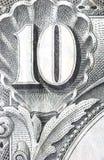 Money. Close up of a 1904 us 10 dollar bill stock image