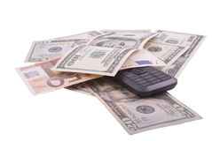 Money. With cellphone isolated on the white Royalty Free Stock Image