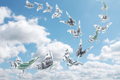 Money. Fly away like a butterfly Stock Image