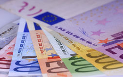 Money. Close up of the highest euro notes evaluable Stock Photography