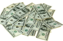 Money. Banknotes of hundreds american dollars on white background Royalty Free Stock Photography