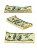 Money. Banknotes of hundreds american dollars on white background Stock Photo