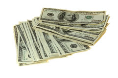 Money. Banknotes of hundreds american dollars on white background Stock Photography