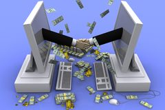 Money. 3D graphics on the theme of cooperation, business and success in business Royalty Free Stock Images
