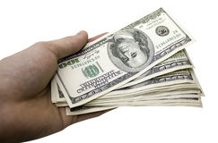 Money. A big pile money in a businessman's hand Royalty Free Stock Photo