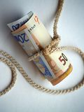 Money. Euro money and clothes line Royalty Free Stock Photos