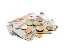 Money. Paper and metal coins on white Royalty Free Stock Images