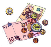 Money. Cartoon illustration of some euro notes & coins; the official currency of the European Union Royalty Free Stock Image
