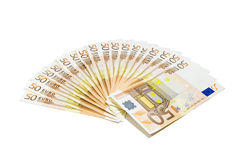 Money. Bunch of European fifty euro bills Stock Images