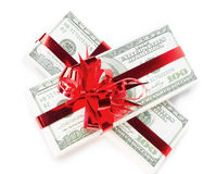 Money. Pack of the American money as a gift on white background Stock Image