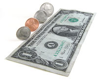 Money. US dollar bill and coins Royalty Free Stock Photo