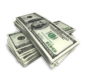 Money. Stack of dollars on white; clipping path Stock Photography