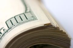 Money. Close-up of a $100 banknotes Royalty Free Stock Photo