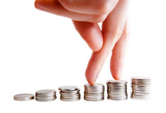 Money. Increase your savings. Нand girl Royalty Free Stock Images
