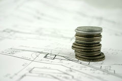 Money. A pile of coins on design Stock Images