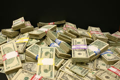 Money. A pile of U.S. currency of various denominations Royalty Free Stock Photo