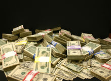 Money. A pile of U.S. currency of various denominations Royalty Free Stock Photography