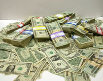 Money. A pile of U.S. currency of various denominations Royalty Free Stock Image