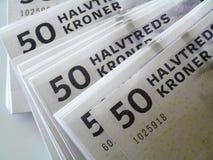 Money. Close up image of 50 danish krone notes Royalty Free Stock Photos