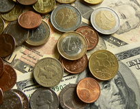Money. Dollars, euros, pounds and other currencies scene Stock Image