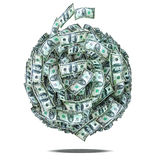 Money. A large money ball made of 50 and 100 dollar bills royalty free stock image