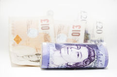 Money. £340 British Pounds Sterling. Twenty Pound and Ten Pound notes. Copy space if required. All serial numbers removed royalty free stock images