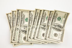 Money. Hundred dollar bills lined up on what background Stock Photography