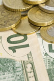 Money. Paper and coin money background royalty free stock photo