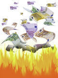 Money. This image shows many banknotes falling sub fire Stock Images
