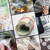 Money. Collage of different real money Royalty Free Stock Photos