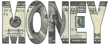 Money. Text with American dollar background