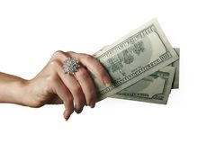 Money #2. Money in woman's hand Royalty Free Stock Image