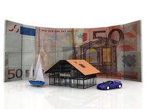 The money. House  car boat and euro Royalty Free Stock Images