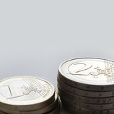 Money. Closeup of one and two euro coin Royalty Free Stock Photos