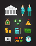 Money. Stylish colored icons with various financial elements Royalty Free Stock Photos