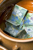 Money. Romanian money bills in a mug Stock Photography