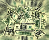 Money. A lot of money 100 dollars bills flying concept Stock Image