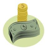 Money. Illustration of dollar bills and coins Vector Illustration