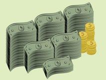Money. Illustration of dollar bills and coins Stock Illustration