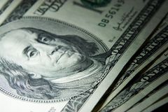 Money 24. Extreme close-up view of 100 dollars banknotes Stock Photos